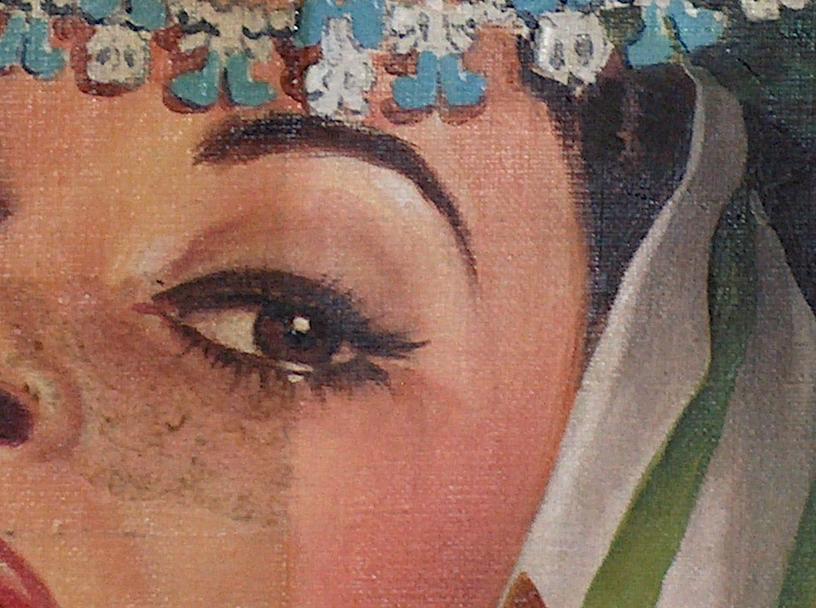 Riteatto femminile, acrilico su tela, collez. privata (MI) Part. pulitura